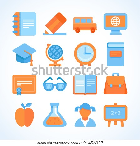 Flat vector icon set of education symbols, university and school graduation design elements and signs - stock vector