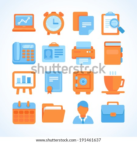 Flat vector icon set office and business symbols, finance and business design elements and supplies - stock vector
