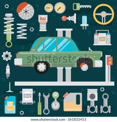 Flat vector icons and illustrations repair of machines and equipment. Old car repair. - stock vector