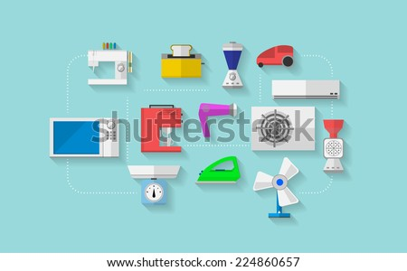 Flat vector icons for household appliances. Set of colored flat vector icons with household appliances on blue background. - stock vector