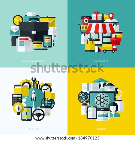Flat vector icons set of financial services, e-commerce, startup and science - stock vector
