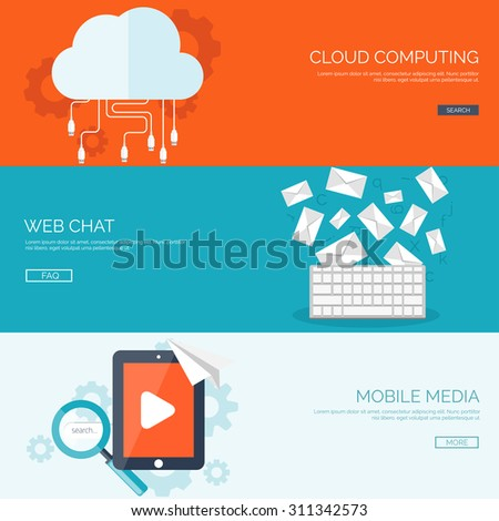 Flat vector illustration. Cloud computing. Web server. Chatting and global communication. Social network. Message. Media mobile storage. - stock vector