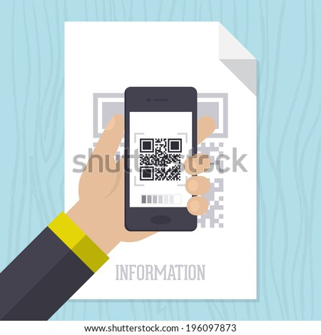Flat vector illustration concept for scanning QR code with mobile smart phone  - stock vector