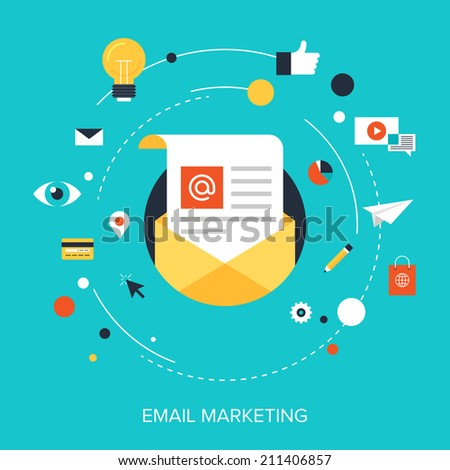 Flat vector illustration concept of e-mail marketing on blue background. - stock vector