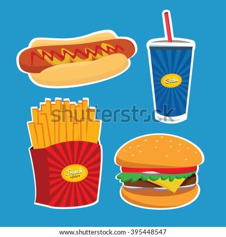 Flat Vector Illustration FastFood for Design, Website. Illustration. Junk Food - stock vector