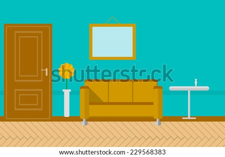 Flat vector illustration for sitting-room. Sitting room or lounge with blue wall with picture, gray door, sofa and journal table with two vases. Flat colored vector illustration. - stock vector