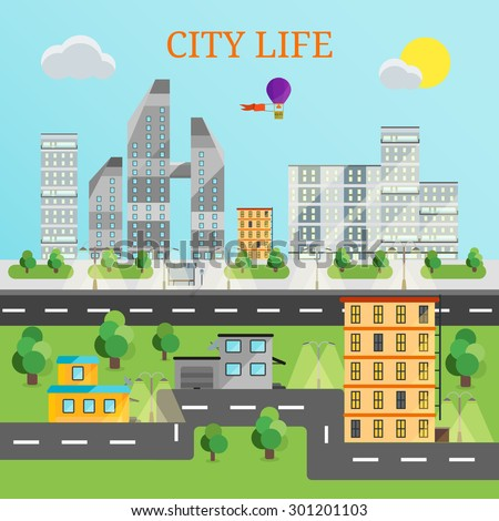 Flat vector illustration icons set of urban landscape and city life. Building icon. Set of buildings. City set of city life. City set with air balloon and roads. - stock vector
