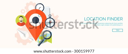 Flat vector illustration. Map pointer. Navigation and travel. Location finder. Loupe. - stock vector