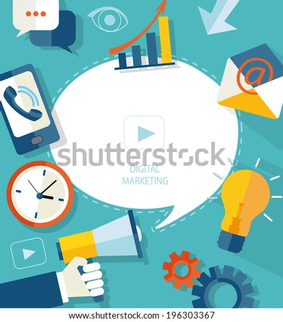 Flat vector illustration megaphone with cloud, puzzles, icons on media theme. Digital marketing concept.  - stock vector