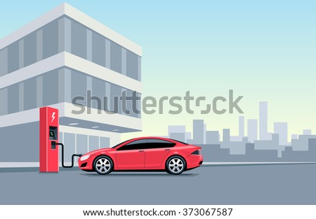 Flat vector illustration of a red electric car charging at the charger station in front of the office building in the city. Electromobility e-motion concept. Charge the vehicle during work time. - stock vector