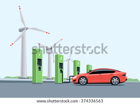 Flat vector illustration of a red electric car charging at the charger station in front of the windmills. Electromobility e-motion concept.  - stock vector
