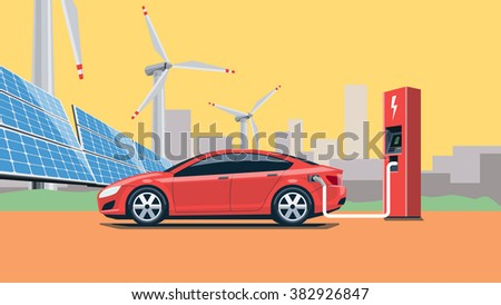 Flat vector illustration of a red electric car charging at the charger station in front of the solar panels and wind turbines. City skyline in the background. Warm retro feeling. - stock vector