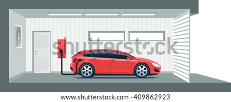 Flat vector illustration of a red electric car charging at the charger station point inside home garage. Integrated smart domestic electromobility e-motion concept. Electric car charging on charger. - stock vector