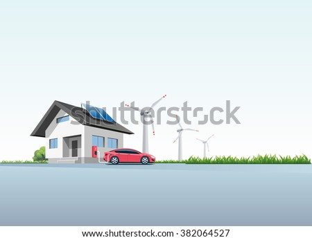 Flat vector illustration of a red electric car charging at the wall charging station placed on a house with solar panels. Wind turbines are in the background.  - stock vector