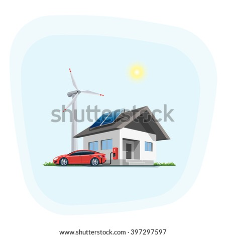Flat vector illustration of a red electric car charging at the wall charging station placed on a house with solar panels. Wind turbines are in the background. Home charging e-motion concept.  - stock vector