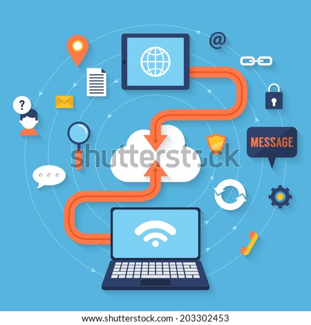 Flat vector illustration of cloud computing concept - stock vector