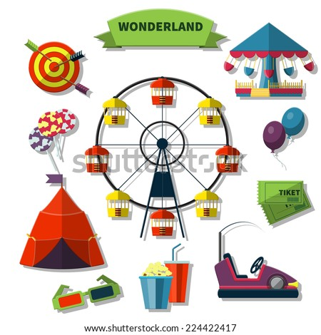 Flat Vector Illustration of Entertainment park for  Design, Website, Background Banner. Attraction Template with Lollipop, popcorn, darts, Cinema 3d, Balloon, building - stock vector