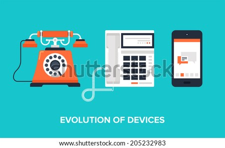 Flat vector illustration of evolution of communication devices from classic phone to modern mobile phone. - stock vector