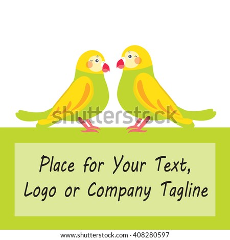 Flat vector illustration of loving couple parrots with frame for Your text or company logo. Background for advertisement. Perfect for card, invitation, greetings, congratulation. Bright green, yellow  - stock vector