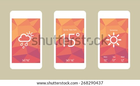 Flat vector illustration of modern mobile phone with interface elements - stock vector