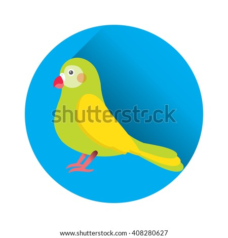Flat vector illustration of parrot bird. Cartoon festive element for design, object on blue circle with long shadow. Isolated on white background. 