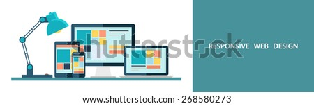 Flat vector illustration of responsive web design as seen on desktop monitor, laptop, tablet and smartphone. - stock vector