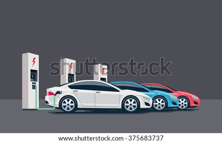 Flat vector illustration of three electric cars charging at the white charger station. Electromobility e-motion concept. Three electric battery chargers. - stock vector