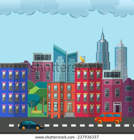 Flat Vector Illustration of Town Design, Website, Background, Digital, Banner. City, Park, Car element Isolated for you Pattern or Map Texture. Template metropolis. - stock vector