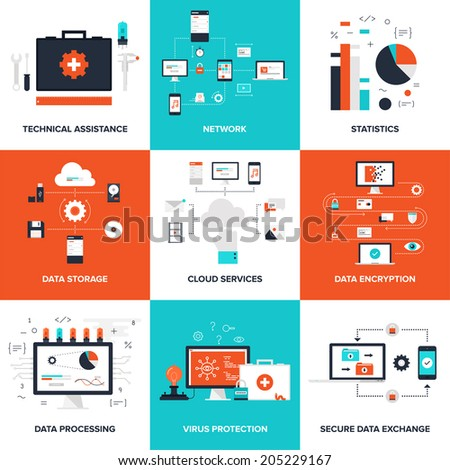 Flat vector illustration on technical service, cloud computing, big data, virus protection data, processing and security theme. - stock vector