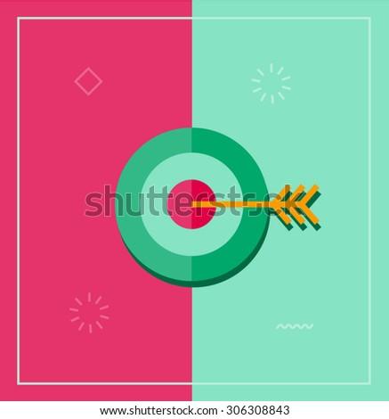 Flat vector illustration or target bulls eye with arrow - stock vector