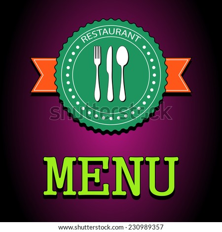 Flat vector illustration poster. Restaurant menu design. Special dishes from the chef. Cooking kitchen and restaurant logotype elements food and utensil icons. EPS10 - stock vector