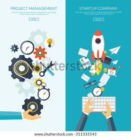 Flat vector illustration. Project management. Startup. Background with hands, keyboard, tools.New ideas, business solutions. - stock vector