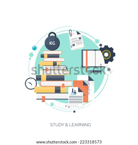 Flat vector illustration. Study and learning concept background. Distance education, online courses, brainstorm, knowledge growth,school and university subjects.Success and ideas,learn process. - stock vector