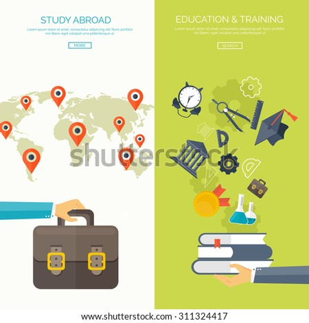 Flat vector illustration. Study background. Education and learning. Back to school. E-learning, web courses. Online teacher. Power of knowledge. University, school. - stock vector