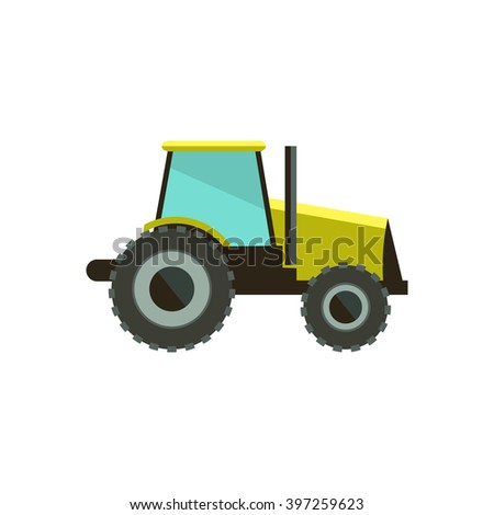 Flat vector illustration tractor icon. Tractor icon art white background. - stock vector