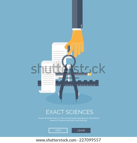 Flat vector illustration with hand and study tools. Study and learning concept background. Distance education, brainstorm and knowledge growth,school and university subjects. - stock vector
