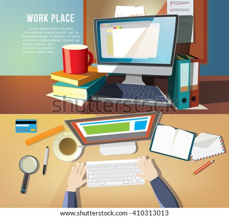 Flat vector illustration workplace with modern laptop on table. Top and front views. - stock vector
