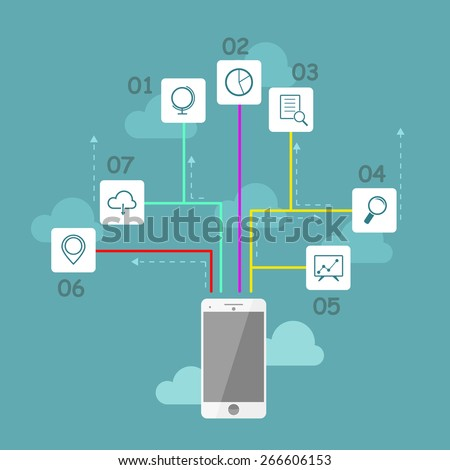 Flat vector infographic design with mobile phone and business icons, business illustration - stock vector