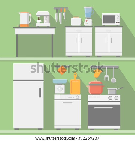 Flat vector kitchen with cooking tools, equipment. Refrigerator and microwave, toaster and cooker, blender  illustration - stock vector