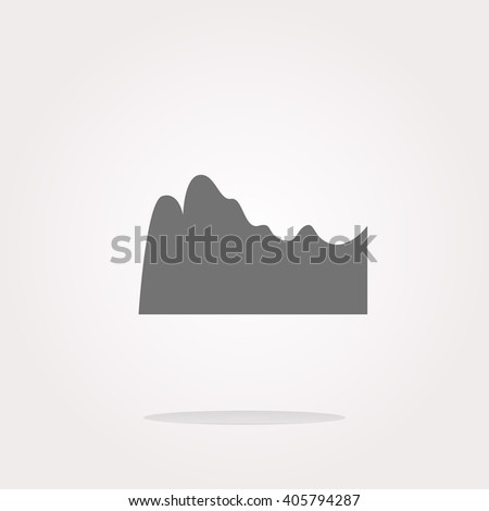 flat vector mountain on glossy web icon isolated on white background - stock vector