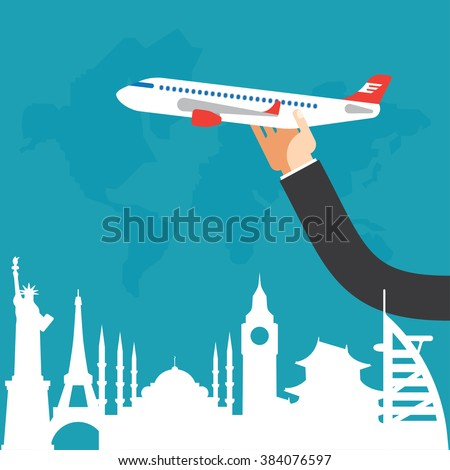 Flat vector on the theme of travel by airplane, vacation, adventure. Toy airplane in hand. Modern flat design. - stock vector