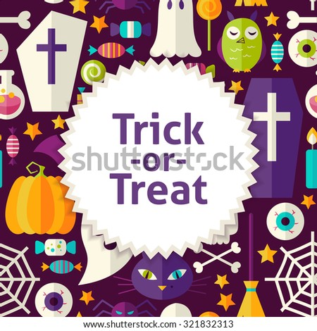 Flat Vector Pattern Halloween Trick or Treat Background. Flat Style Vector Illustration for Scary Halloween Party Promotion Template. Colorful Scary Holiday Objects for Advertising - stock vector