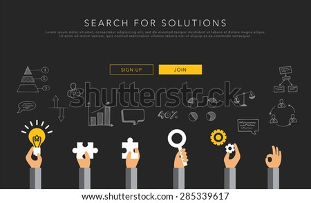 flat vector template search for solutions - stock vector
