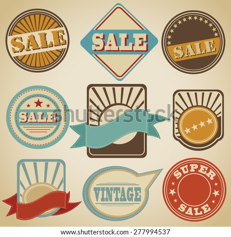 flat vector vintage emblems, labels. vector - stock vector