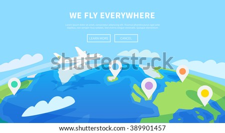 Flat vector web banner on the theme of travel by airplane, vacation, adventure. Transport, transportation. Modern flat design. - stock vector