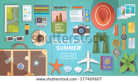Flat vector web banner on the theme of travel , vacation, adventure. Preparing for your journey. Outfit of modern traveler. Objects on wooden background. Top view. Ready for Summer. - stock vector