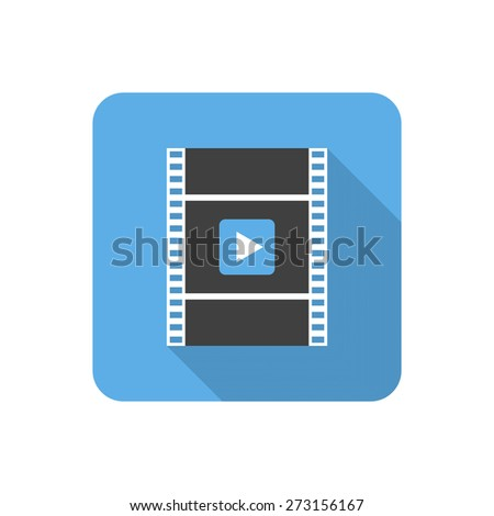 Flat video icon with long shadow. Vector illustration - stock vector