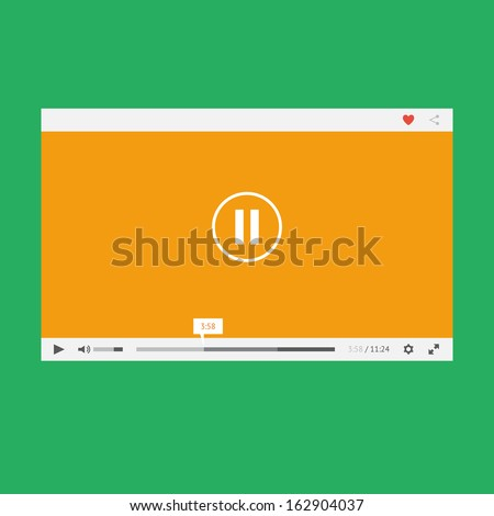 Flat video player for web and mobile apps - stock vector