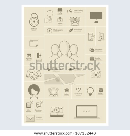 Flat vintage infographics elements with icons for website, mobile and print templates - stock vector