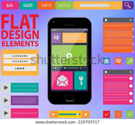 Flat Web Design, elements, buttons, icons. Templates for website. Vector illustration. EPS 10 - stock vector